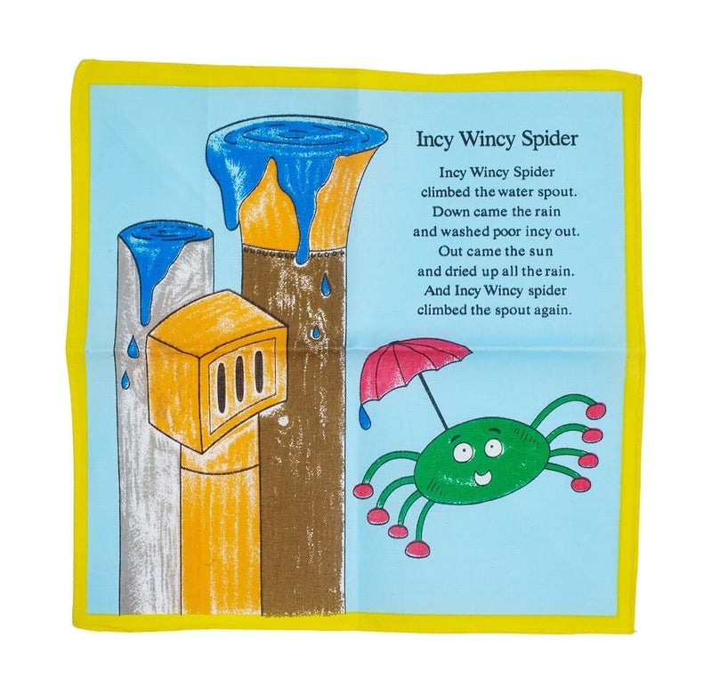 Incy Wincy Spider Cotton Blue Children s Handkerchief