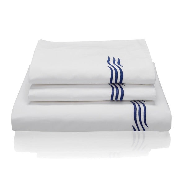 Woods Italian Classic Busetto Superfine Bed Linen Set Wave Design - produced on original Pratesi superfine luxury percale cotton.