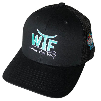 WTF Teal Tide Emb. Snapback Trucker Hat Black