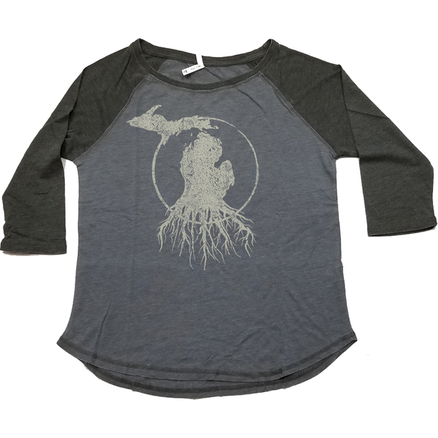 MI Roots - Ladies' Baseball Tee