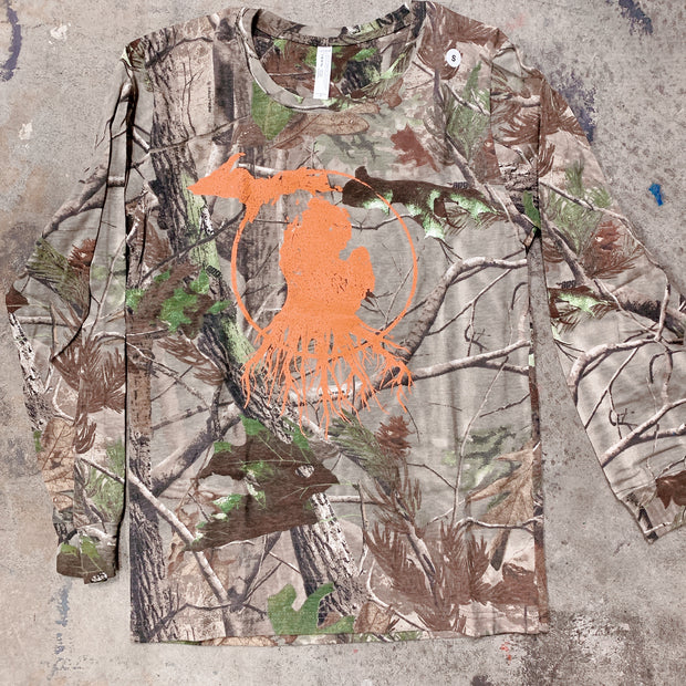 Clearance - unisex small orange camo long sleeve