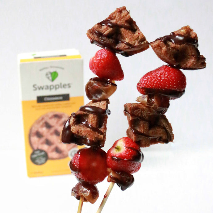Chocolate Strawberry Waffle Skewers