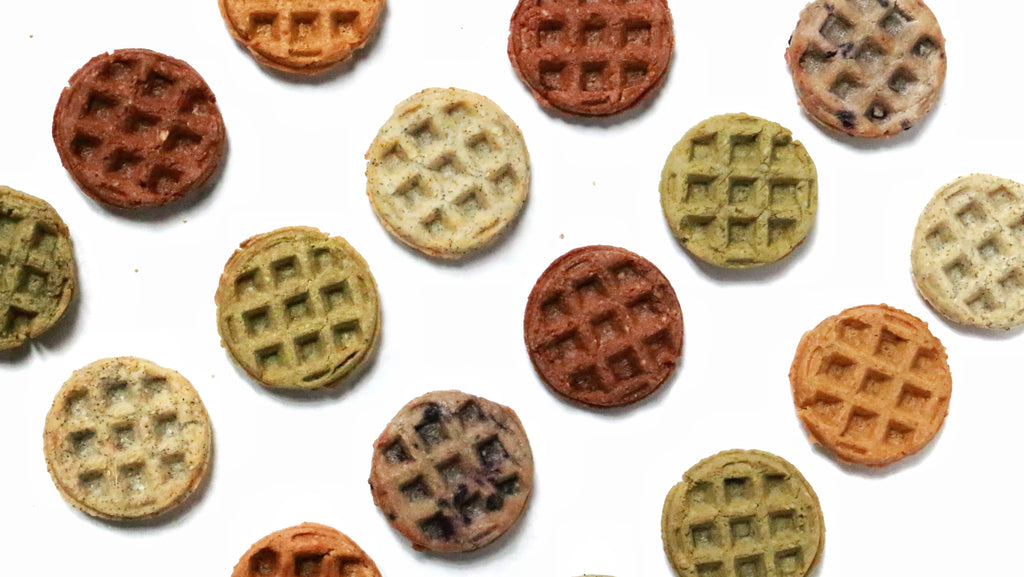 Arrangement of plant-based toaster waffles