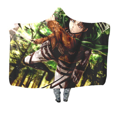 Levi Soaring Through The Forest - 3D Printed Attack On Titan Hooded Blanket
