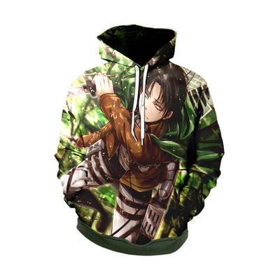 Attack On Titan 3d Printed Levi Soaring Through The Forest Hoodie