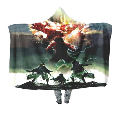 Eren Yeager Defending Wall - 3D Printed Attack On Titan Hooded Blanket