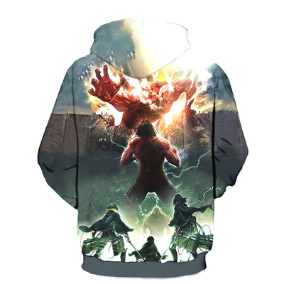 Eren Yeagar Colossus Titan with Mikasa and Armin-ZipUp Hoodie