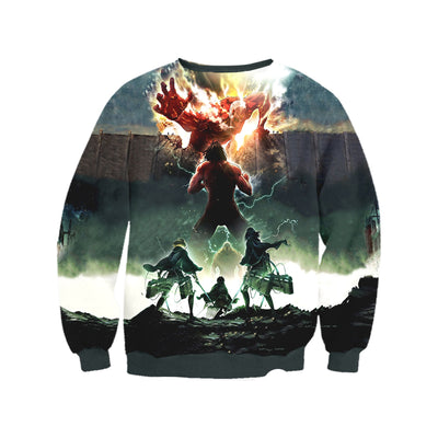 Attack On Titan Sweatshirt - Eren Yeager Defending Wall 3D Printed Sweatshirt