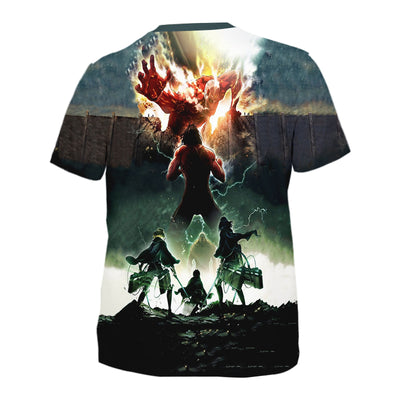 Eren Yeager Defending Wall T-Shirt - Attack On Titan 3D T-Shirt