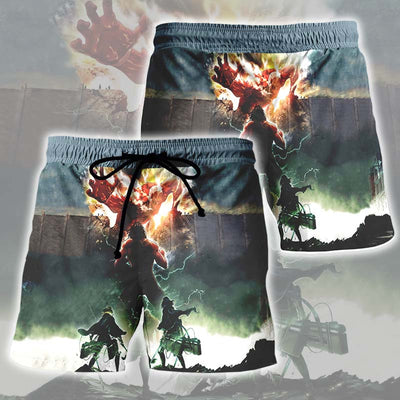 3D Printed Attack On Titan Shorts - Eren Yeager Defending Wall Titan Shorts