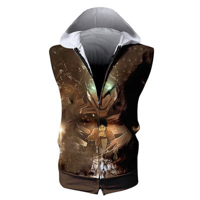 Eren Yeager Transforming Into Full Titan Hooded Tank Top - 3D Printed Sleeveless Hoodie