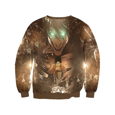 Attack On Titan Sweatshirt - Eren Yeager Transforming into Full Titan 3D Printed Sweatshirt