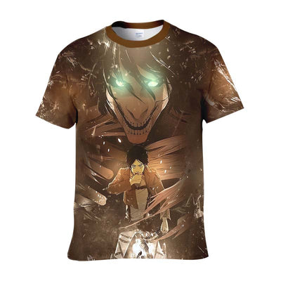 Eren Yeager Transforming IntoFull Titan T-Shirt - Attack On Titan 3D T-Shirt