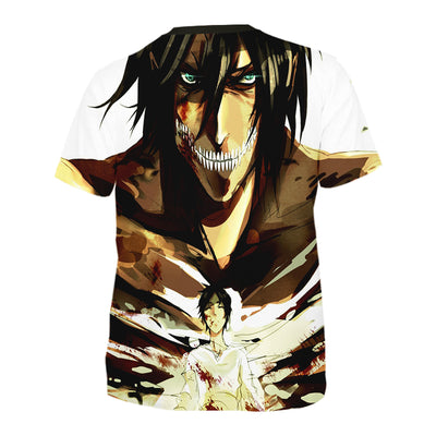 Eren Yaeger shown in Titan and Human T-Shirt - Attack On Titan 3D T-Shirt