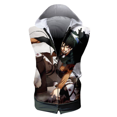 Levi In Battle with Tattered up Uniform Hooded Tank Top - 3D Printed Sleeveless Hoodie