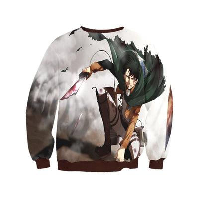 Attack On Titan Sweatshirt - Levi in Battle with Tattered 3D Printed Sweatshirt