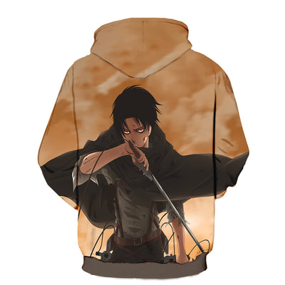 Attack On Titan 3d Printed Levi in Tattered Up Scout Hoodie