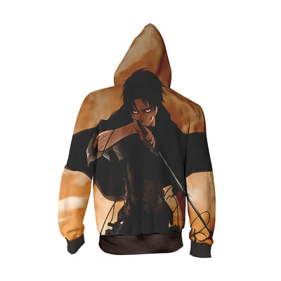 Attack On Titan Hoodie - Levi in tattered up Scout Regiment with blood-ZipUp Hoodie