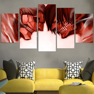 Armored Titan Versus Eren Yeager Titan Canvas - 3D Printed Attack On Titan Canvas