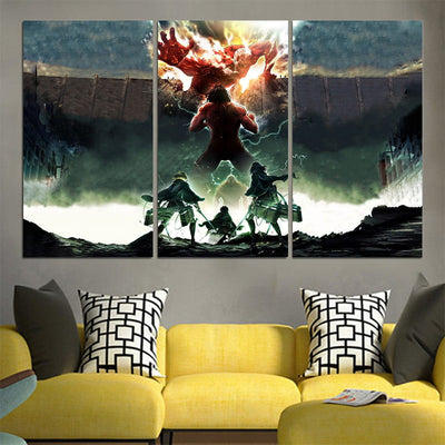 Eren Yeager Defending Wall Canvas - 3D Printed Attack On Titan Canvas