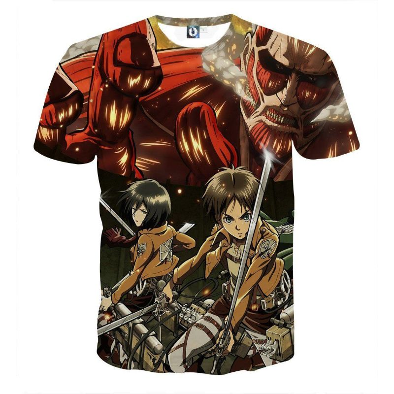 61f397c2 Attack On Titan Eren & Levi - 3D Printed T-Shirt - Just Otaku Things