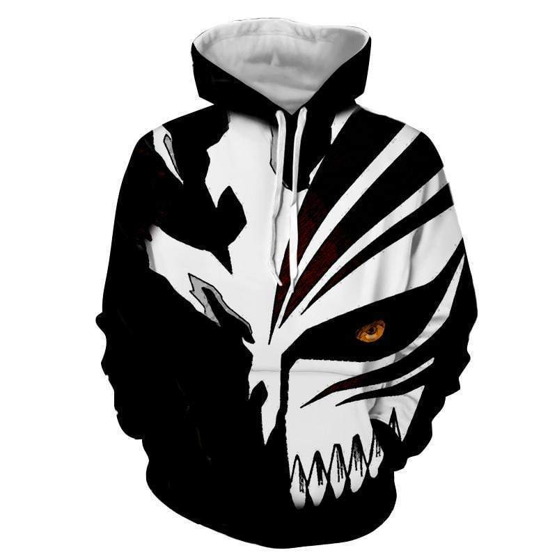 Black And White Hollow Mask Bleach 3d Printed Bleach Anime Hoodie