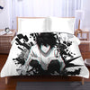 L Sitting & Staring In White Black Bedset - Death Note 3D Printed Bedset