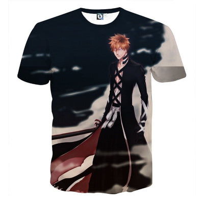 Bleach Ichigo Black Shihakusho Fan Artwork Print T-Shirt