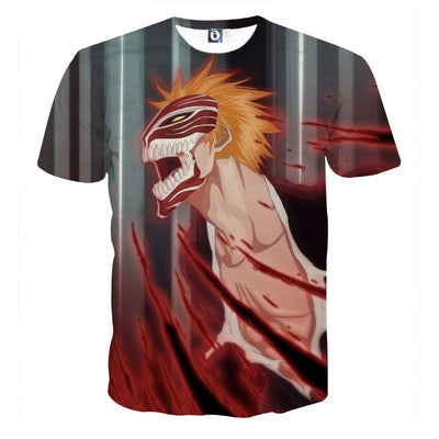 Bleach Ichigo Hollow Face Mask Transform Anime Theme T-Shirt