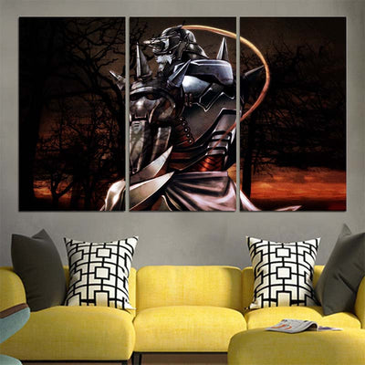 Alphonse Elric Sitting In Dark Night Canvas - 3D Printed Full Metal Alchemist Canvas