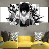 L Sitting & Staring In White Black Canvas - Death Note 3D Printed Canvas