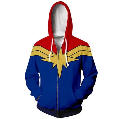 Captain Marvel Cloth Design ZipUp Hoodie - Captain Marvel 3D Printed ZipUp Hoodie