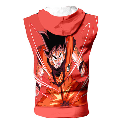 Goku Powerstance Hooded Tank Top - 3D Printed DBZ Sleeveless Hoodie