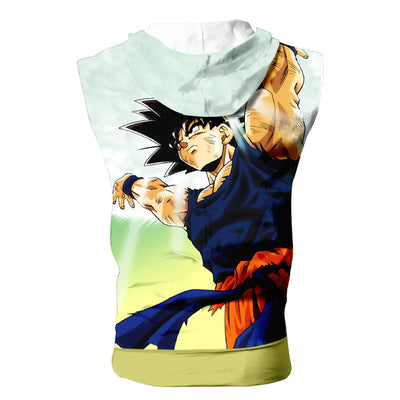 Goku Spirit Bomb Hooded Tank Top - 3D Printed DBZ Sleeveless Hoodie