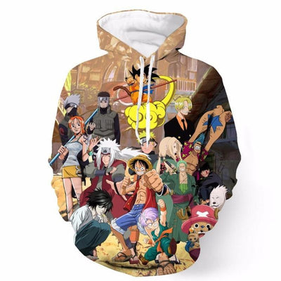 NARUTO ONE PIECE DRAGON BALL DEATH NOTE CHARACTERS HOODIE