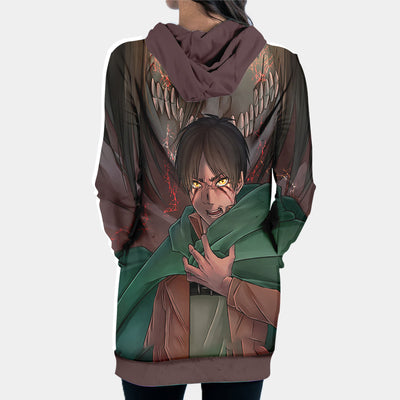 Eren Yaegar Transitioning - 3D Printed Attack On Titan Hoodie Dress