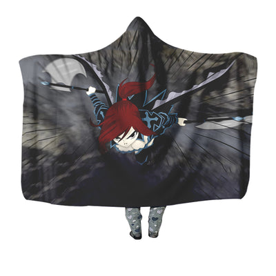 Erza Black Wing Armor Hooded Blanket - Fairy Tail 3D Printed Hooded Blanket