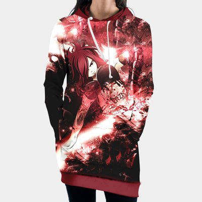 Erza Scarlet Red Hooded Dress - Fairy Tail 3D Printed Hoodie Dress