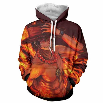 One Piece Fire Fist Ace Fire 3D Hoodie