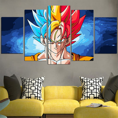 Goku Colorful Hairs Canvas - 3D Printed DBZ Canvas