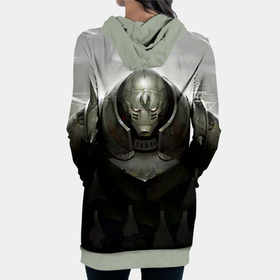 Alphonse Elric Standing Angry Hooded Dress - 3D Printed Full Metal Alchemist Hoodie Dress