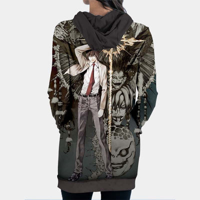 Light Yagami With Ryuk Rem & Other Shinigami Hooded Dress - Death Note 3D Printed Hoodie Dress