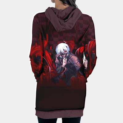 Tokyo Ghol Hooded Dress - Kaneki Ken Angry 3D Printed Hoodie Dress