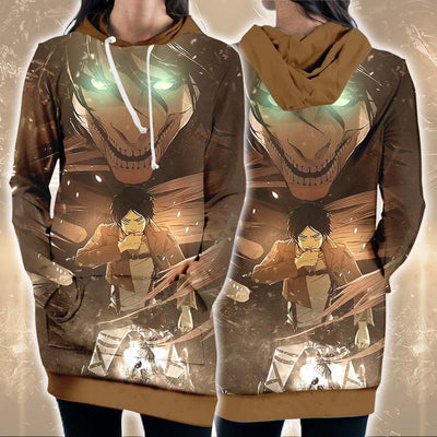 Eren Yeager Transforming Into Full Titan - 3D Printed Attack On Titan Hoodie Dress