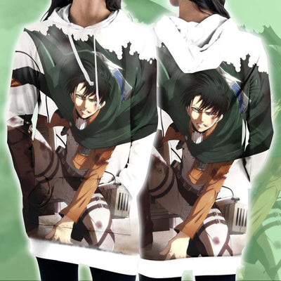 Levi In Battle With Tattered Up Uniform - 3D Printed Attack On Titan Hoodie Dress