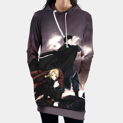 Edward & Roy Mustang Hooded Dress - 3D Printed Full Metal Alchemist Hoodie Dress