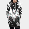 L Sitting & Staring In White Black Hooded Dress - Death Note 3D Printed Hoodie Dress