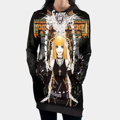 Misa & Ren Standing Infront Of A Cross Hooded Dress - Death Note 3D Printed Hoodie Dress