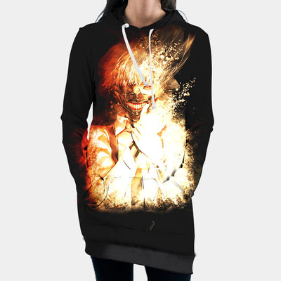 Tokyo Ghol Hooded Dress - Kaneki Ken Fire 3D Printed Hoodie Dress