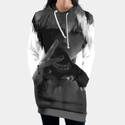 Tokyo Ghol Hooded Dress - Kaneki Ken Taking Off Mask 3D Printed Hoodie Dress